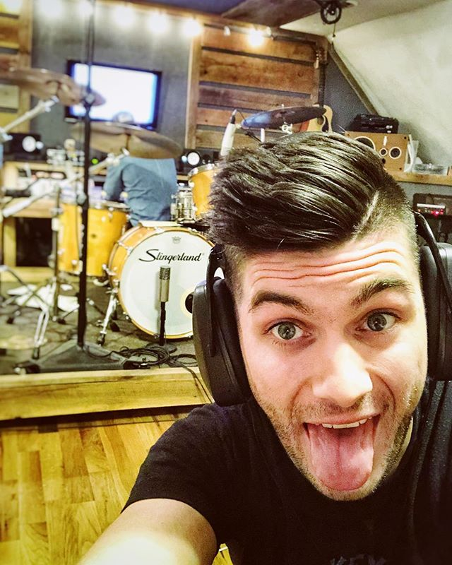 Recording some drums with the amazing @gradysaxman today. I know it's been over a year now, but I've got some new music on the way that I can't wait to share with y'all! 🤘🏻🎶😬
