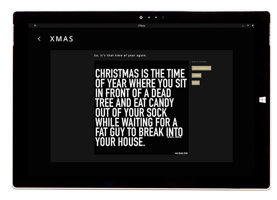 9gag post, tablet,dark theme