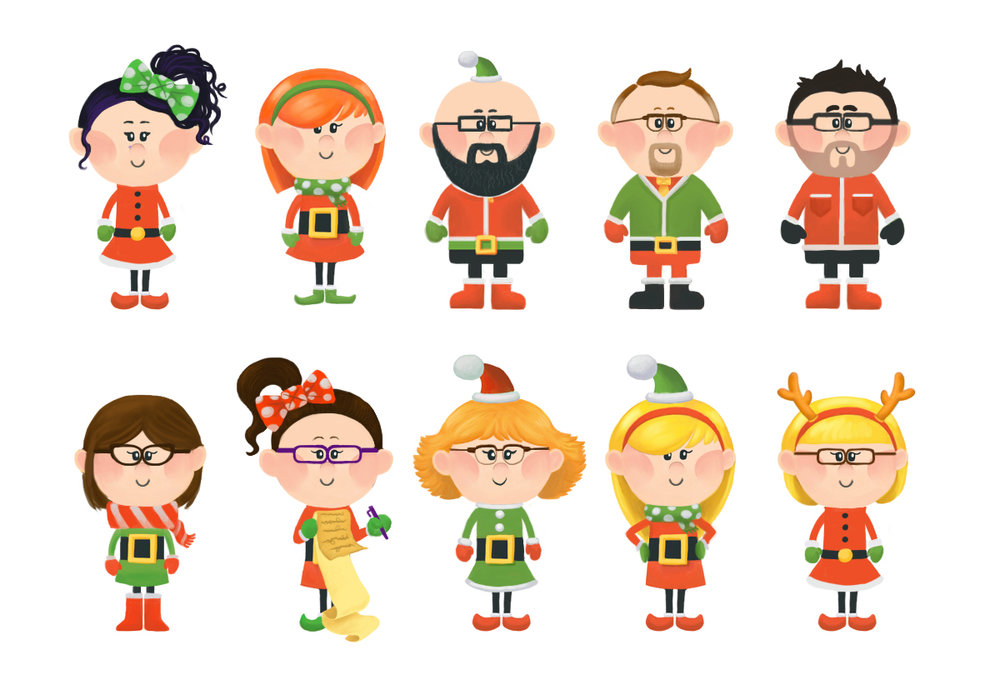 Christmas illustrations I drew of each member of the agency (I'm top right).