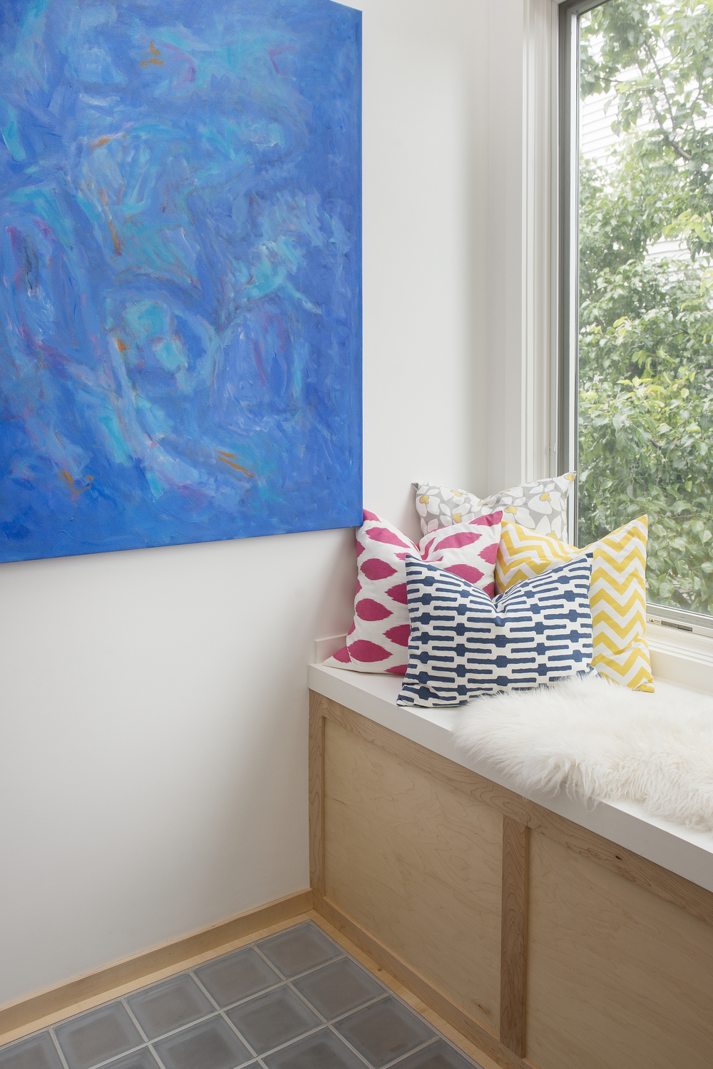 Custom window seat, Cambridgeport Project. Artwork by Priscilla Hayes