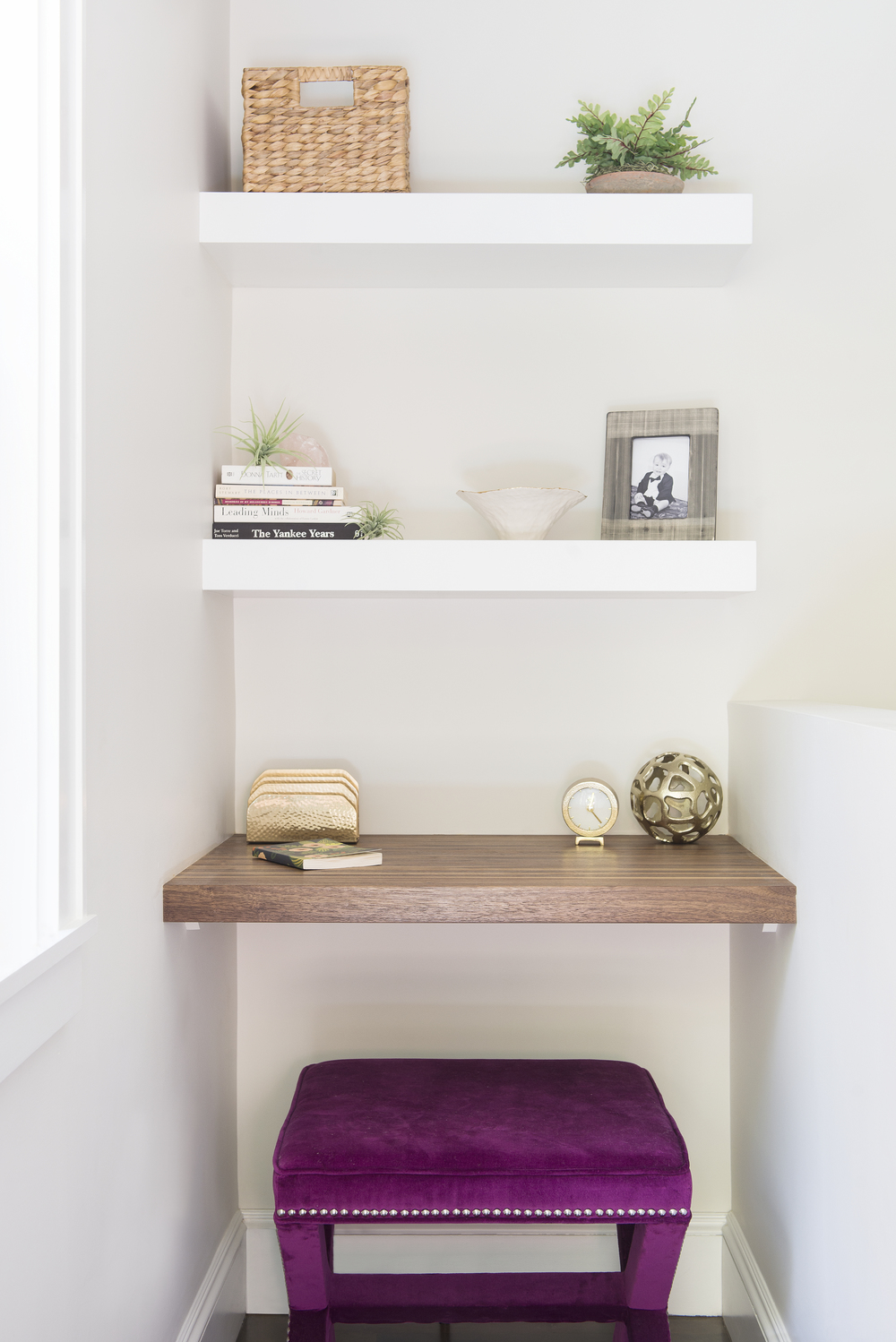 Upholstered bench in small home office styled with  SYD+SAM  accessories and decor!