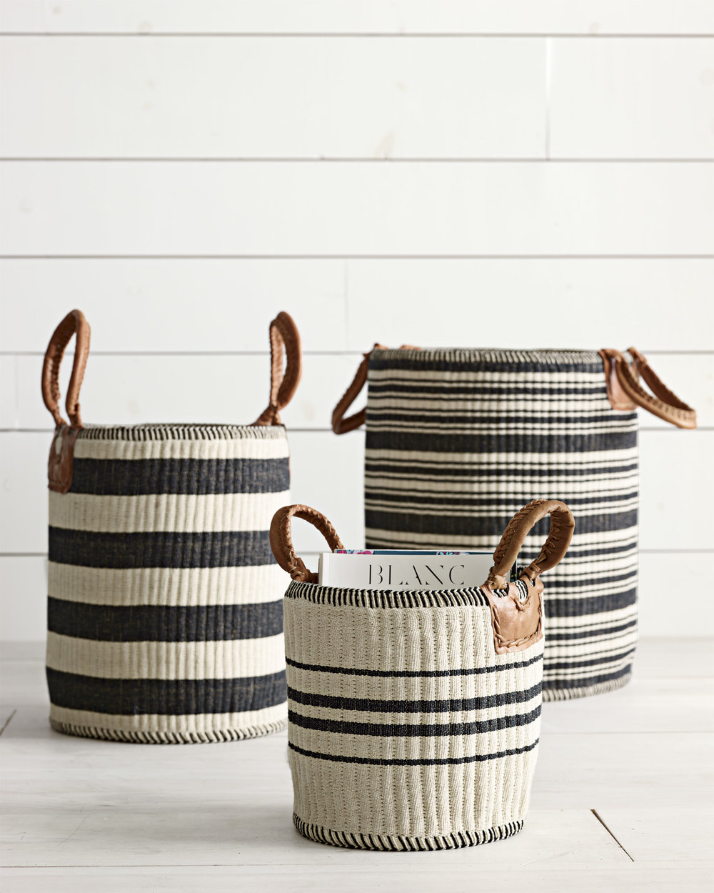 Serena & Lily, Huntington Basket in Black & Indigo