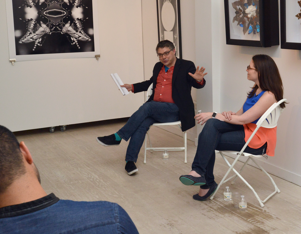 Ben Lillie and Virginia Hughes in conversation at Untitled Space on June 9, 2015, New York, NY. Photo: Jim Webber