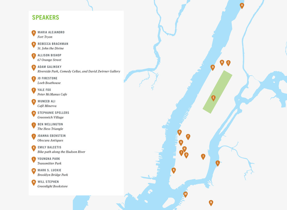 Expand to see speakers' favorite places marked on the map