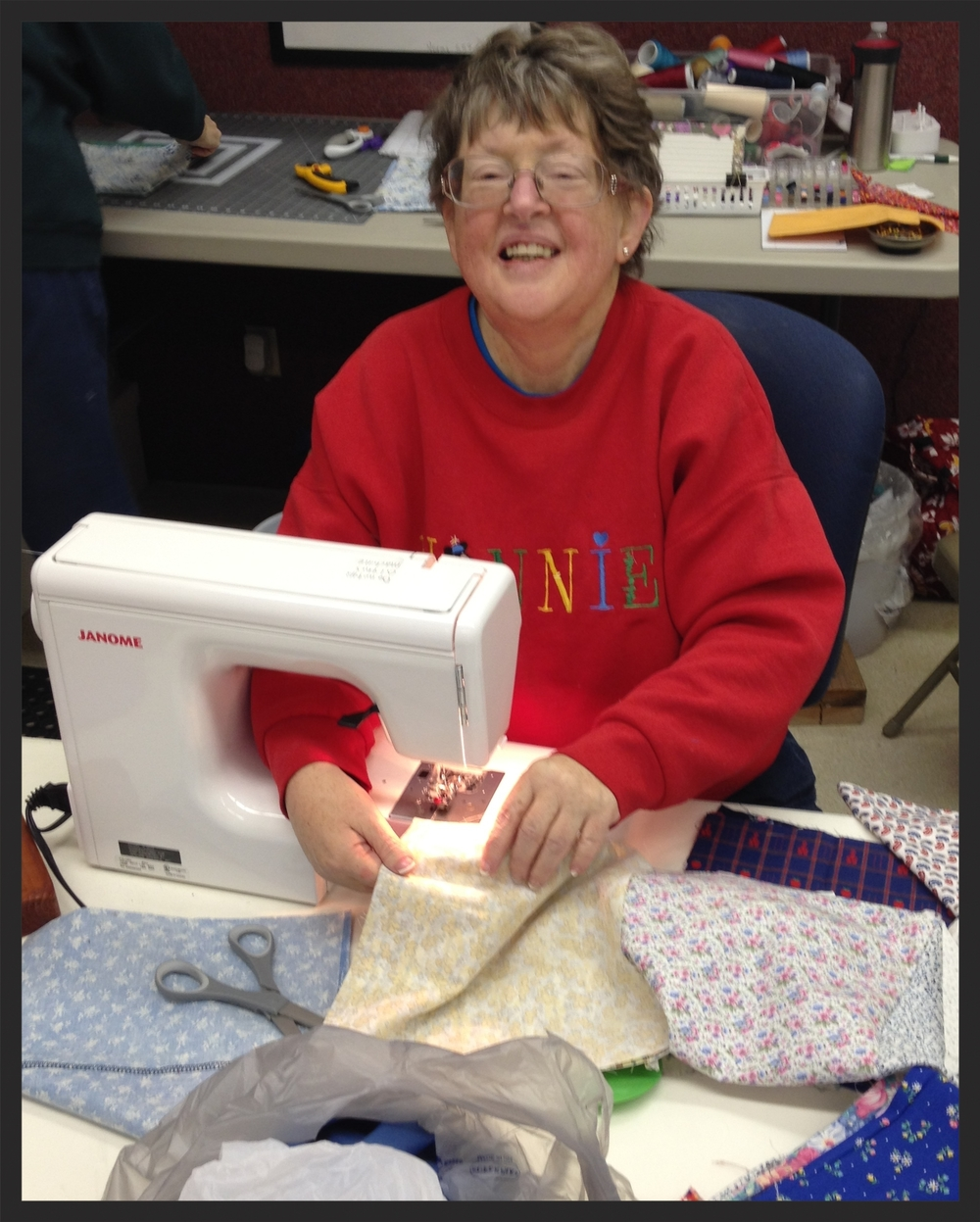 Robin Smith has joined YES! at Gleanings for eight consecutive years. She absolutely thrives in the quilt room!