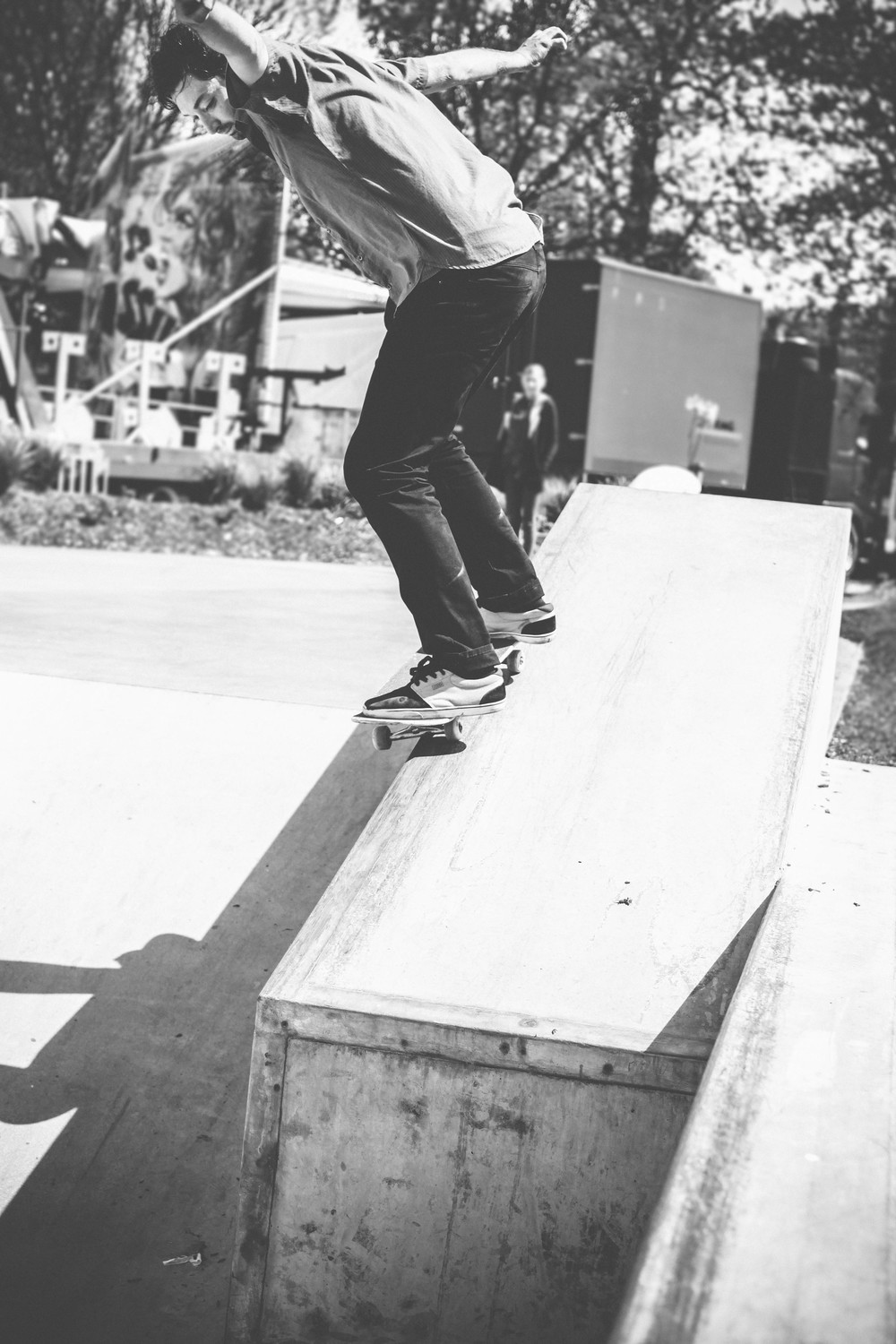 black and white Lightroom VSCO edit of skateboarder