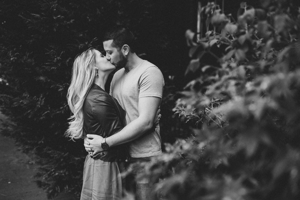 black and white kiss engagement photography from washington dc