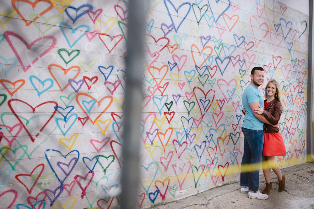 washington dc union market engagements next to the heart graffiti