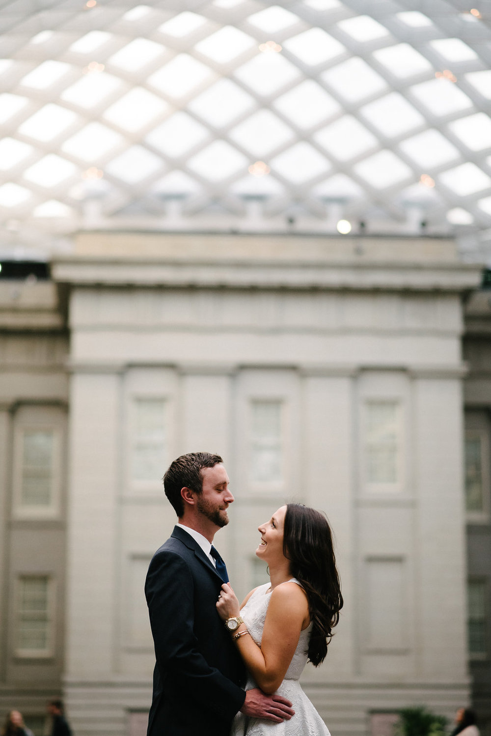 fun engagement portraits in the mezzanine at the national portrait gallery