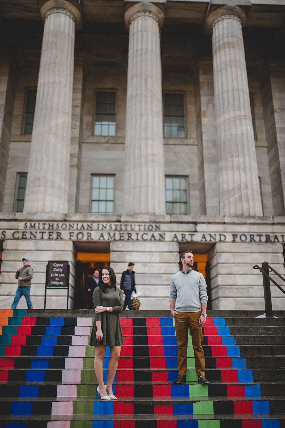 engagement portraits on the steps of the national portrait gallery