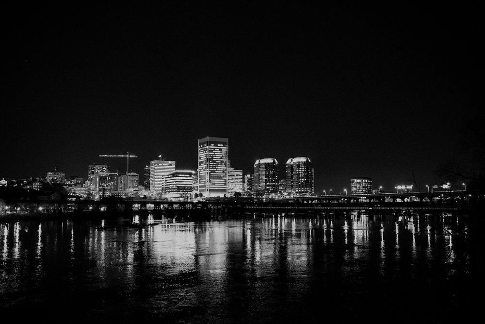 Nighttime view of the Richmond skyline.