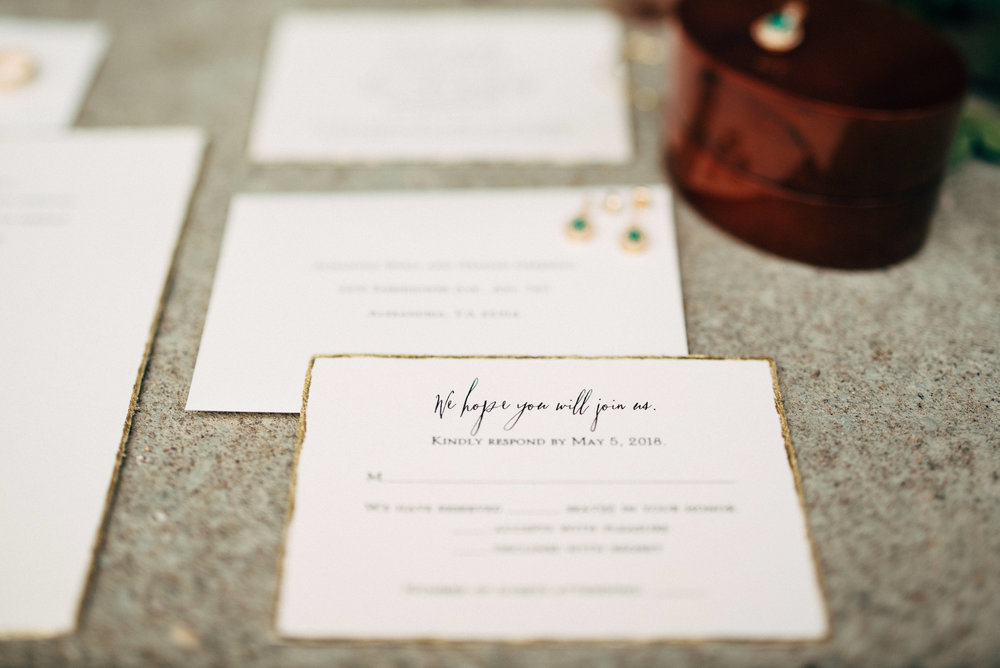 custom wedding RSVP card and invitation with wedding jewelry
