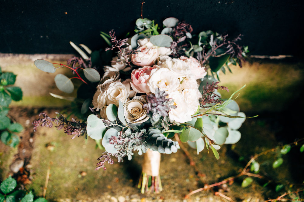 beautiful wedding bouquet with eucalyptus