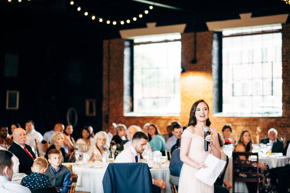 maid of honor speech during wedding reception at the Inn at the Old Silk Mill