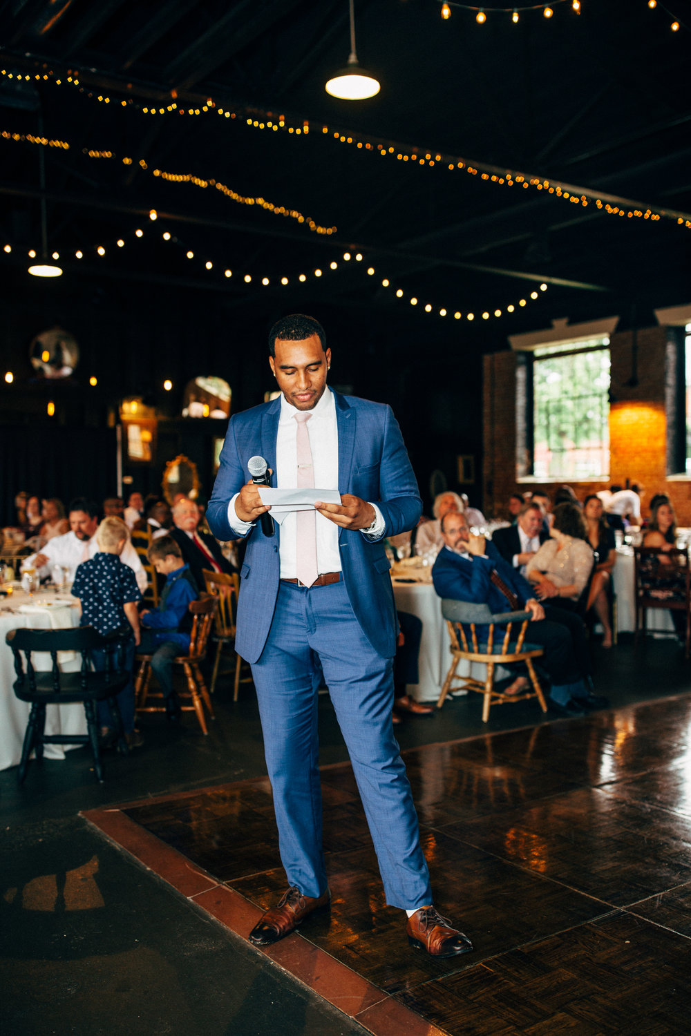 best man's speech during wedding reception at the Inn at the Old Silk Mill