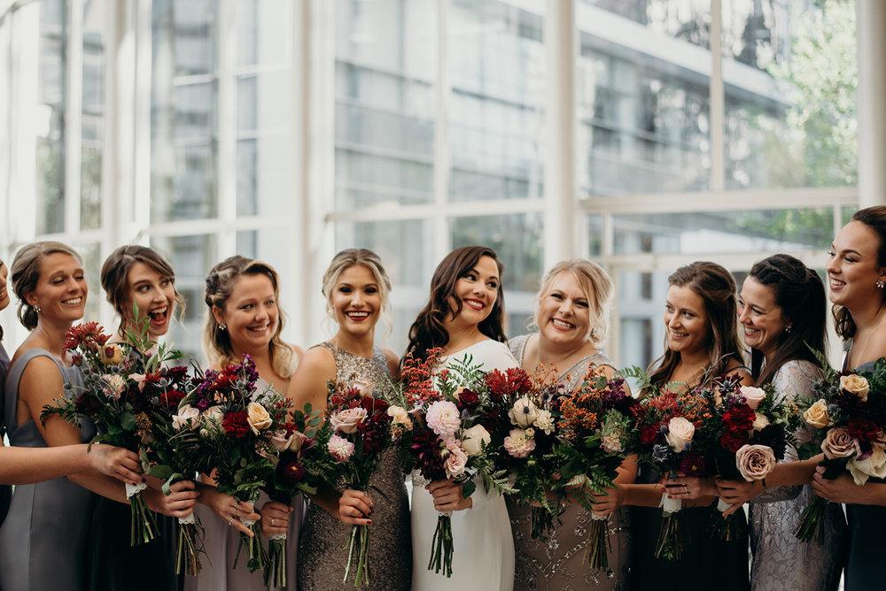 bridesmaids and bride in wedding party