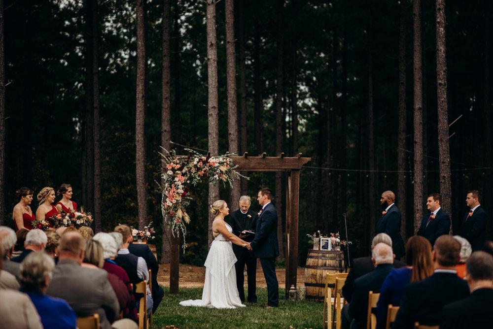 wedding ceremony at the barn at timbercreek in Farmville, VA