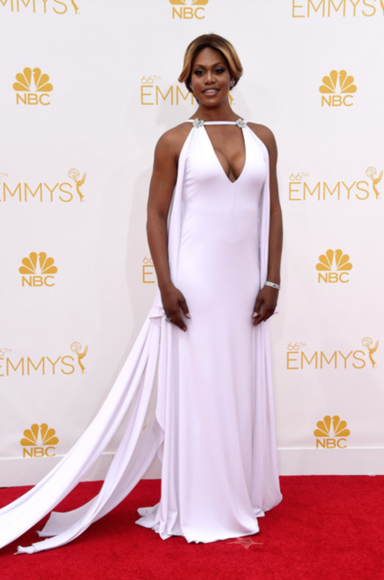 Laverne Cox, 2014 Primetime Emmys Awards. Wearing a custom Marc Bouwer design, Fred Leighton jewelry, Stuart Weitzman shoes and Swarovski clutch