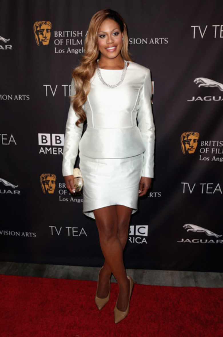 Laverne Cox at BAFTA 2014 Pre-Emmys Tea Party. Wearing custom Valentina Kova, David Yurman jewelry and a Rafe clutch.