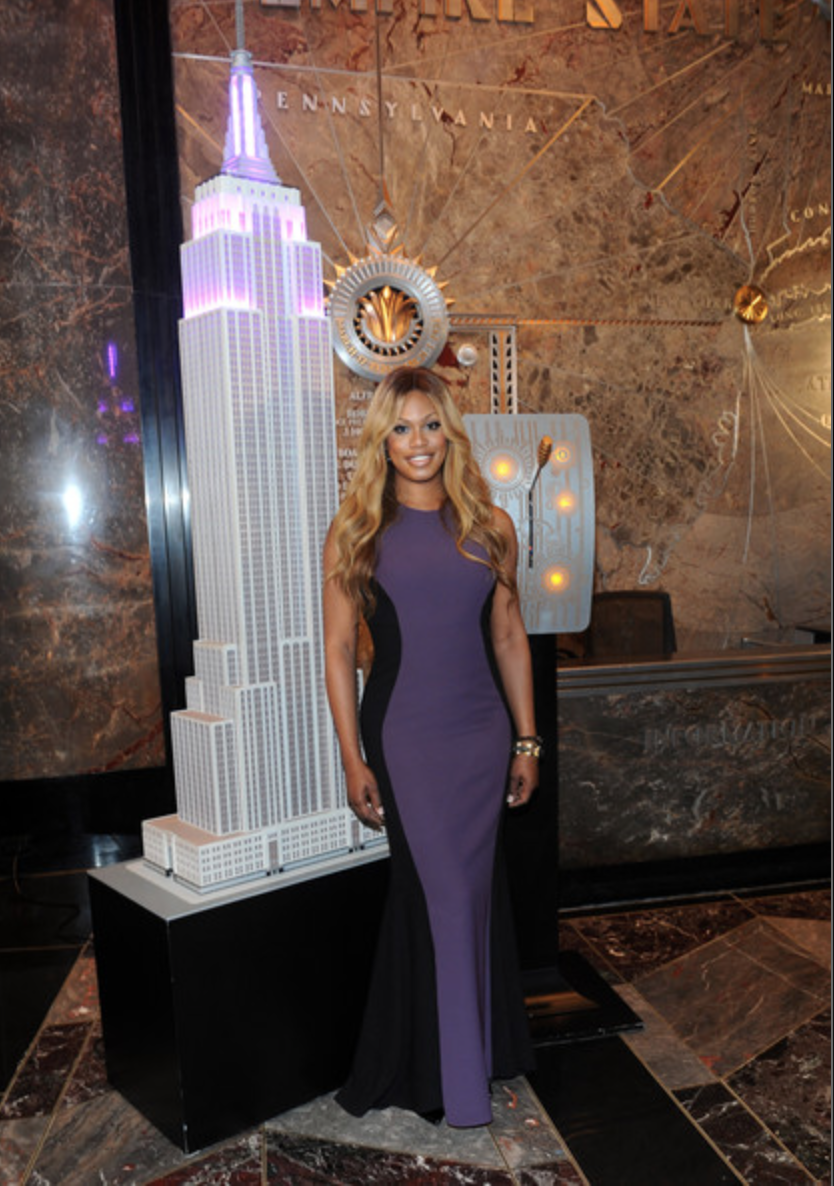 Laverne Cox lighting the Empire State Building for 2014 GLAAD Spirit Day