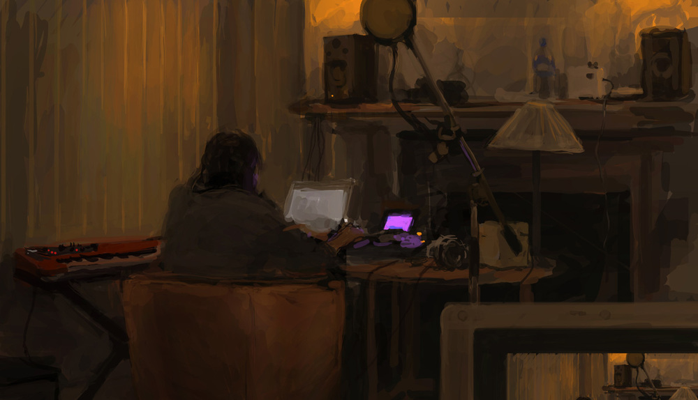 Blanton Ross recording and writing music for the band Spacey Lace, on Nord Wave, MPC and MAC in the lower ground floor kitchen of the 55 Green Street, Mayfair. Digital painting by Simon Rouby.