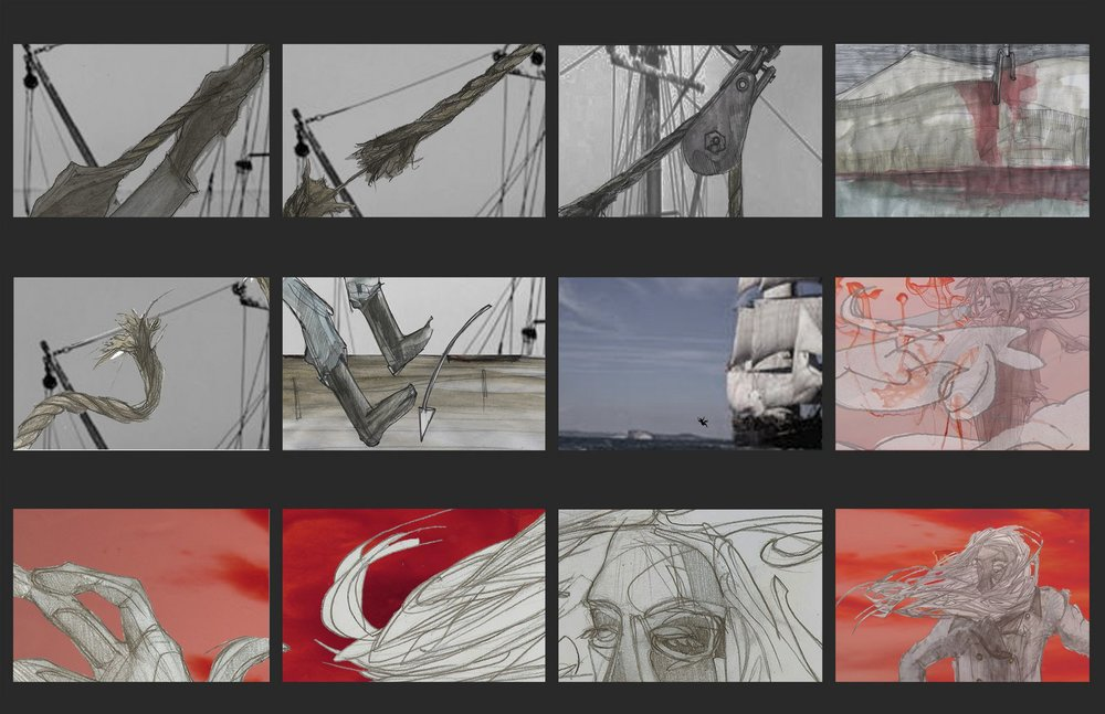 Part of the story board from the film Whale! by the picture's co-director and animator Carley White.