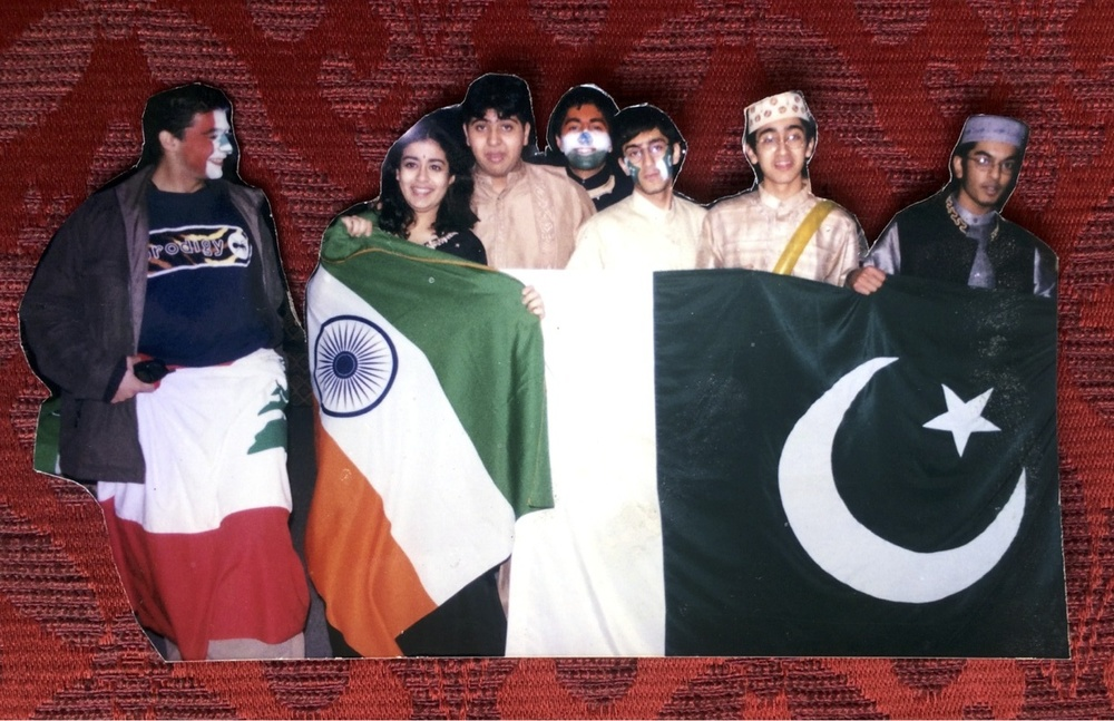 Ankit Love as the President of the American international school between students from India and Pakistan, with a student from Lebanon to the left. The ACS international school at the time was the most in demand international school in the world. Families such as the  Al Nayhans rulers of UAE,  Cavallis, Abramovichs, Al Fayeds and prominent oil families including the Dudleys the CEO of BP at the time had all attended there.