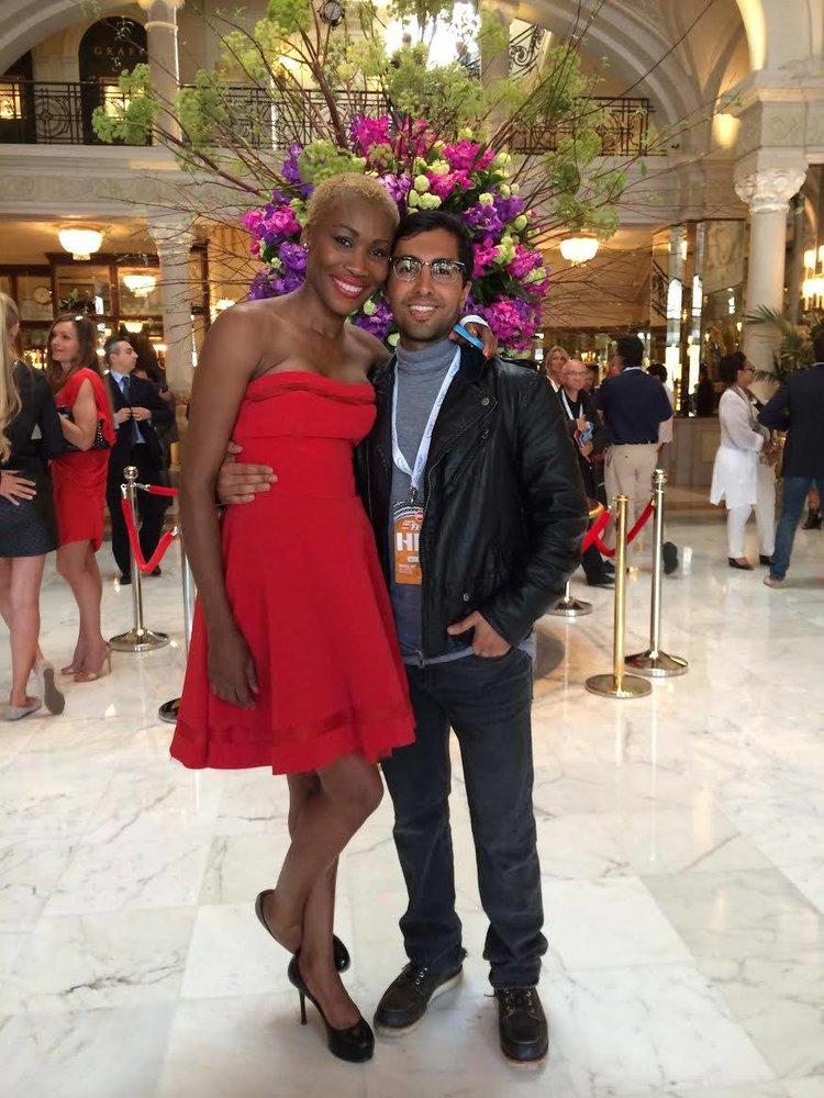 Ankit Love with Monegasque fashion designer Nicole Coste at the Hotel De Paris, Monte Carlo.