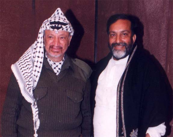Ankit Love's father Prof. Bhim Singh, with his close friend and ally, President Yassar Arafat of Palestine.