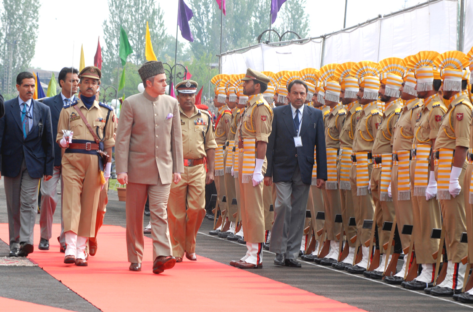 Then prime minister Omar Abdullah with his armed guards in Srinagar, Jammu and Kashmir.