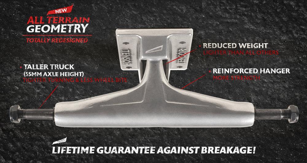 New Tensor Trucks All Terrain Geometry skateboard trucks Lifetime Guarantee Against Breakage