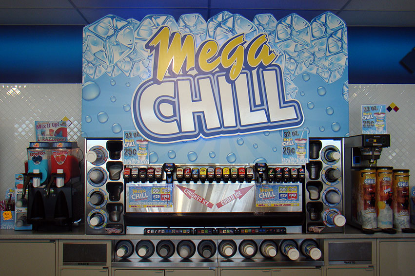 3-D Mega Chill fountain sign cutout graphic