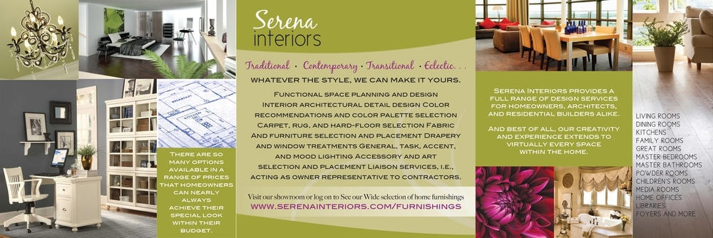 Tri-fold Brochure (inside) for Serena Interiors