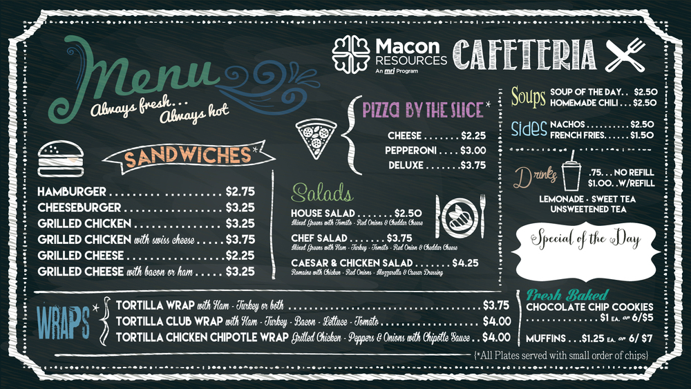 Menu Board Sign for MRI Cafe