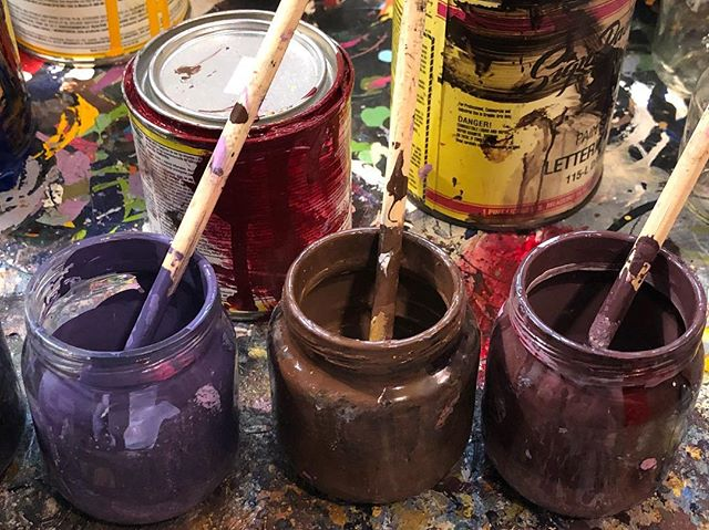 Mixing paint -Danger! #art #painting #contemporaryart #drawing #enamel #artist #studio