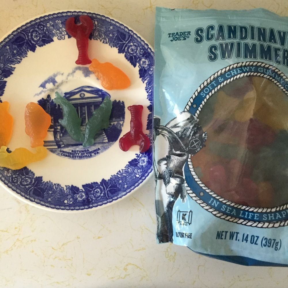 BUT, if you're going to have sugar, at least make it some Scandinavian Swimmers from Trader Joe's! (hint: they taste a lot like Swedish Fish).
