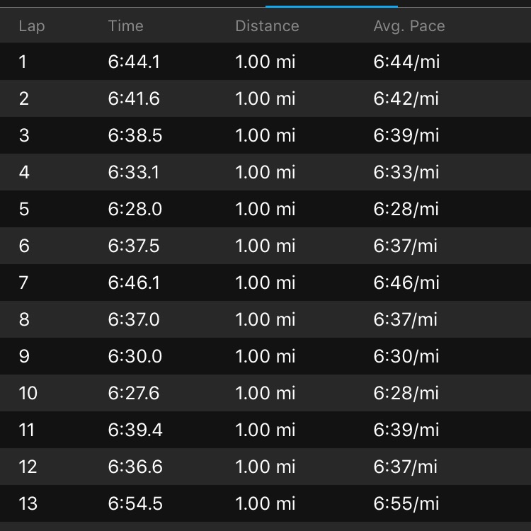 The first 13--fastest mile 6:28.0, slowest 6:54.5 -- felt very smooth and consistent.