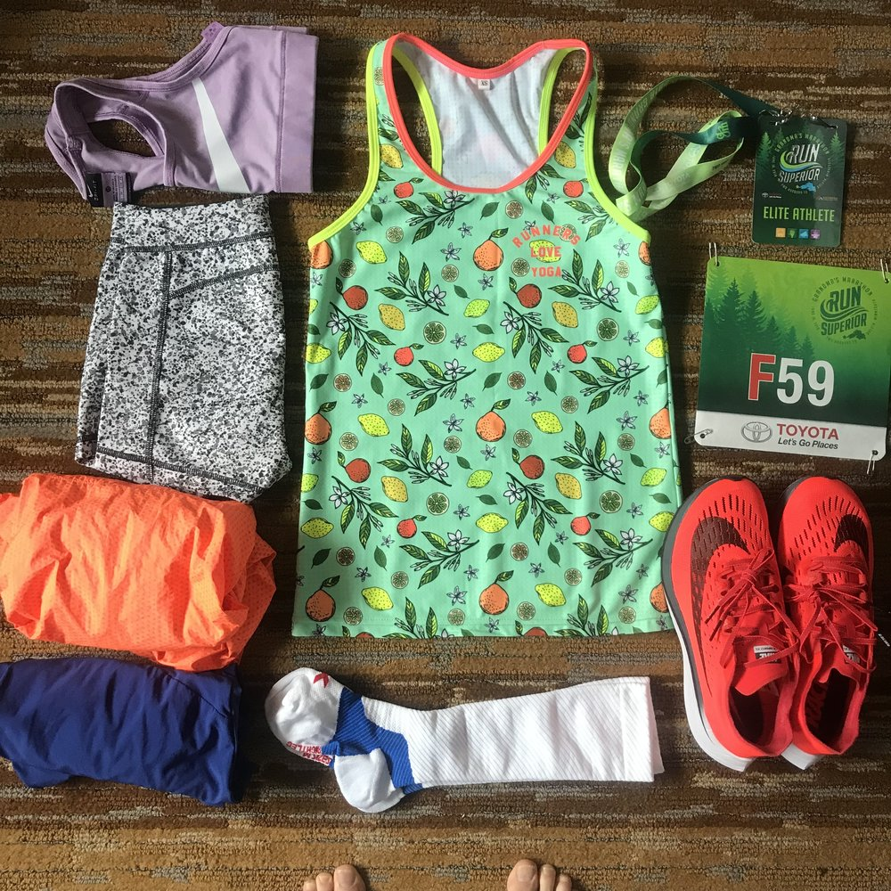All the race clothes laid out the night before, including my new Neon Fruits Singlet which just  debuted for sale here  too!