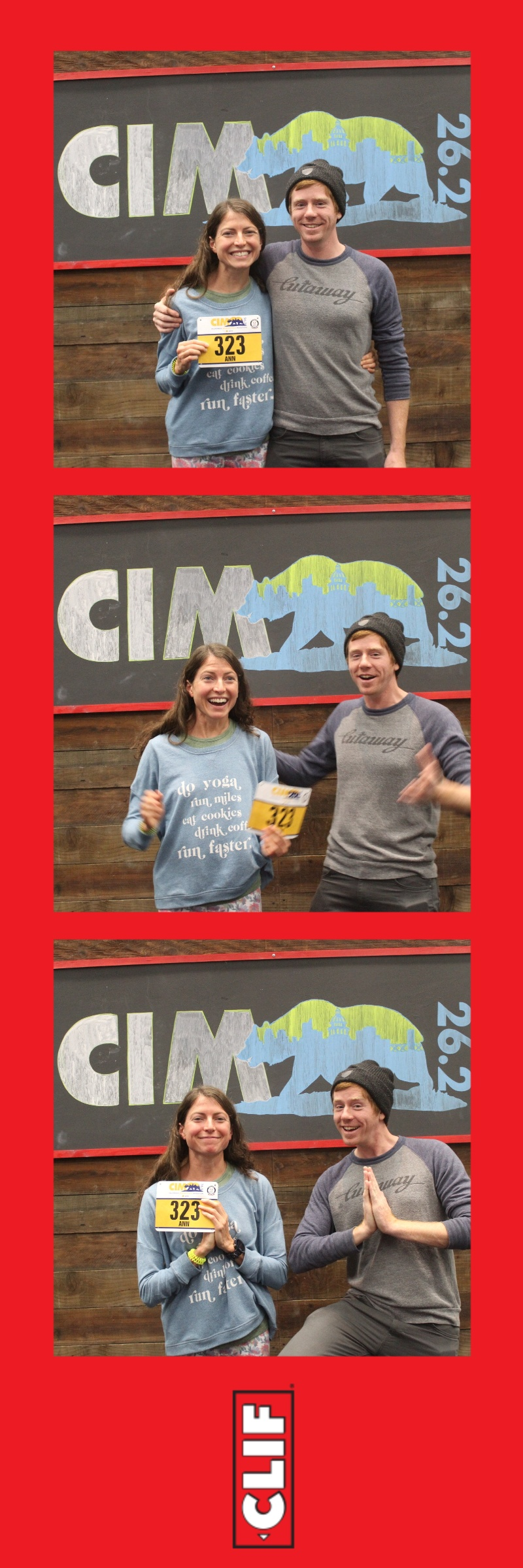 Thanks to Clif Bar for the photo booth at the CIM Expo! For every set of photos, they donated $5 to support the homeless. Also thanks to my husband Phillip for seriously being the best husband ever on this trip and always!