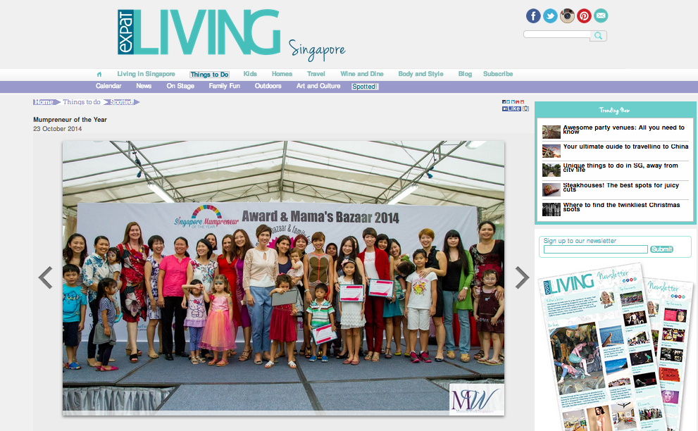 Expat living Singapore Mumpreneur Awards