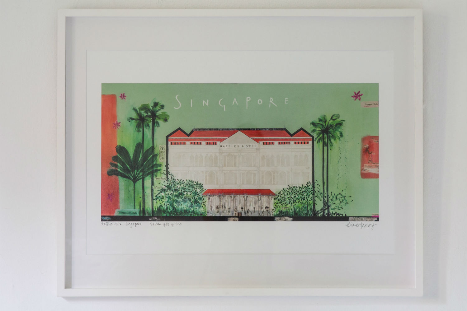 raffles hotel print by clare haxby