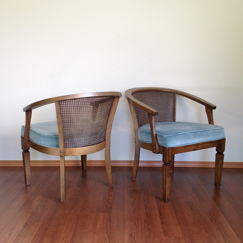 pair of vintage cane back chairs with blue upholstered seats. - Sold Items — ReRunRoom Vintage Furniture + Home Decor