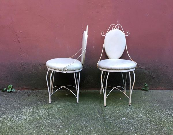 pair of vintage wrought iron ice cream parlor chairs. - Pair Of Vintage Wrought Iron Ice Cream Parlor Chairs. — ReRunRoom
