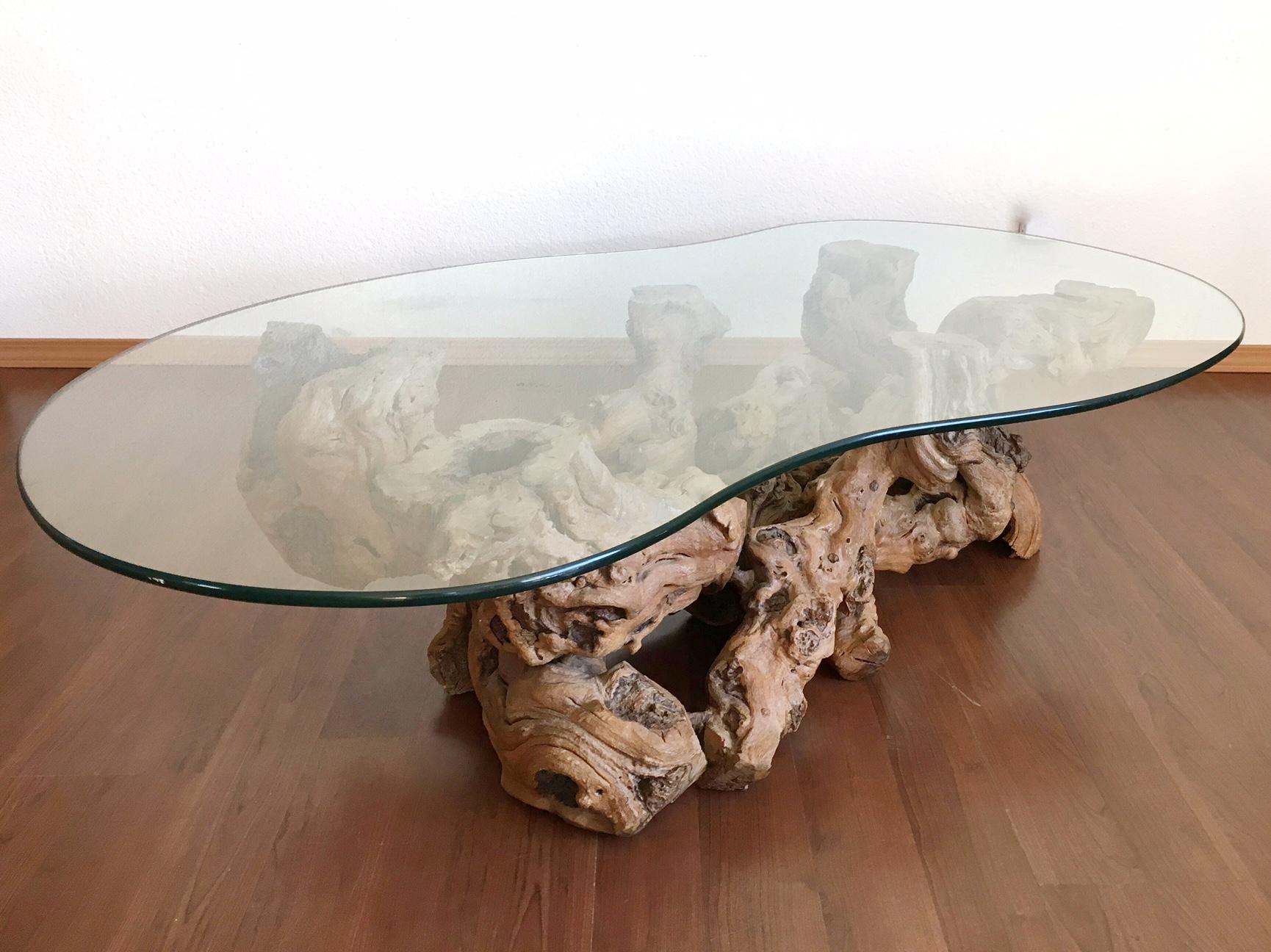 vintage mid century modern burl wood coffee table — ReRunRoom
