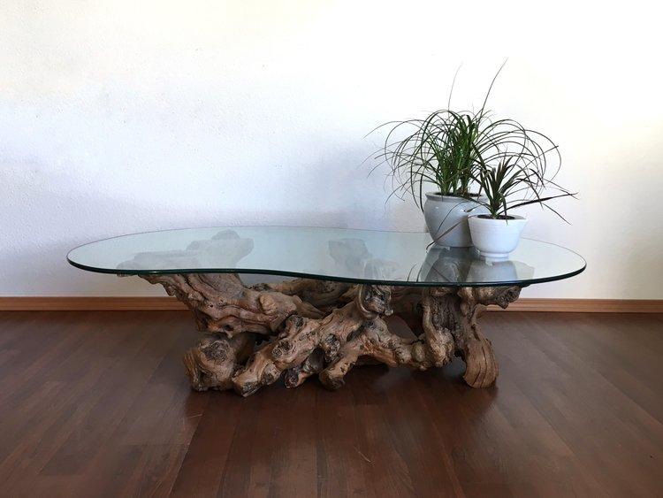 Vintage Mid Century Modern Burl Wood Coffee Table.