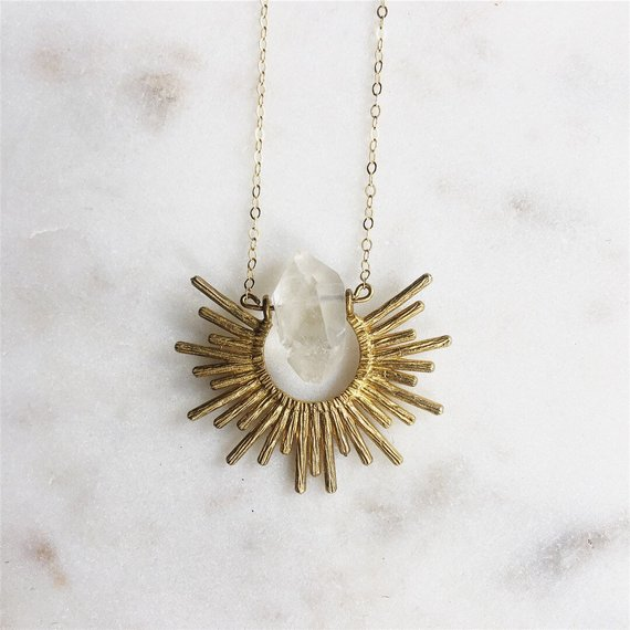Sunburst Quartz Crystal Necklace — ReRunRoom | Vintage Furniture + Home  Decor