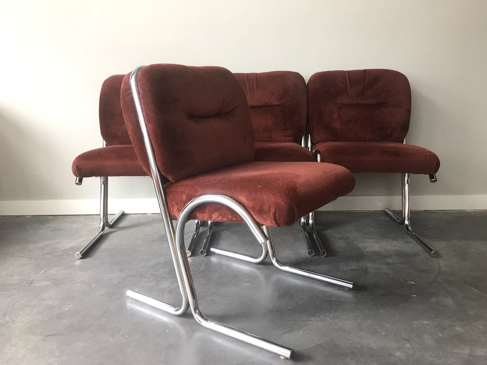set of 4 vintage mid century modern chrome cantilever chairs rh rerunroom com mid century modern antique furniture mid century modern vintage furniture los angeles