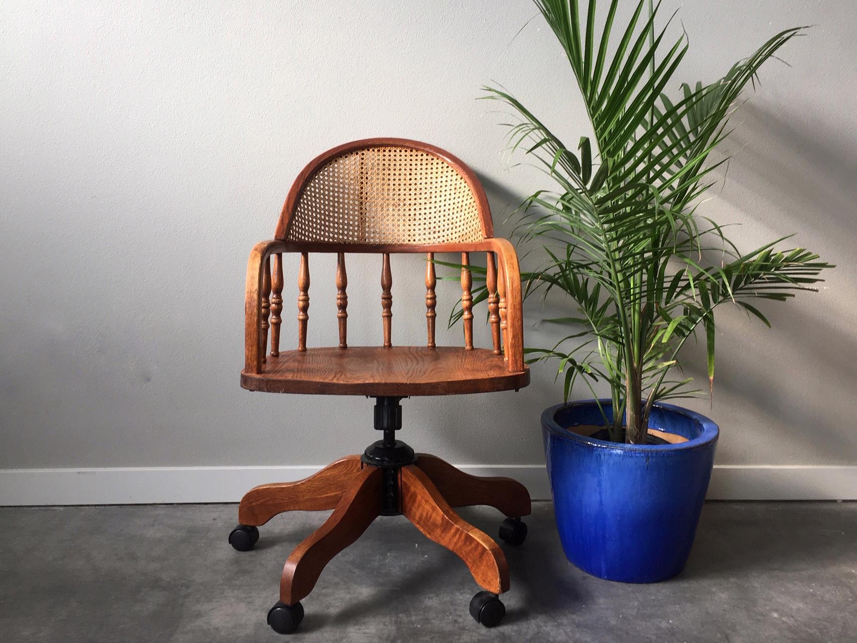 Astonishing Vintage Cane Desk Chair Rerunroom Vintage Furniture Home Decor Creativecarmelina Interior Chair Design Creativecarmelinacom