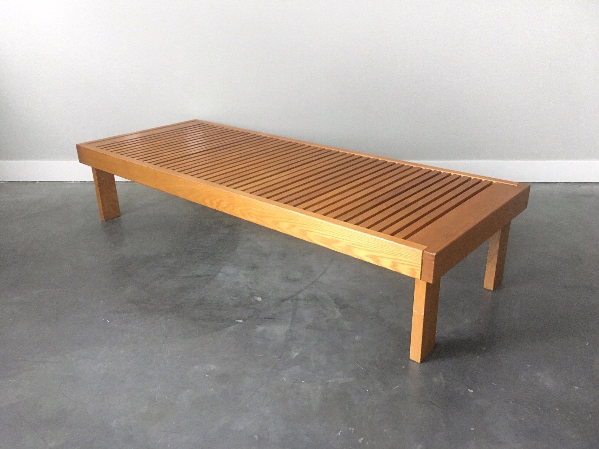- Vintage Mid Century Modern Folding Slat Bench Coffee Table