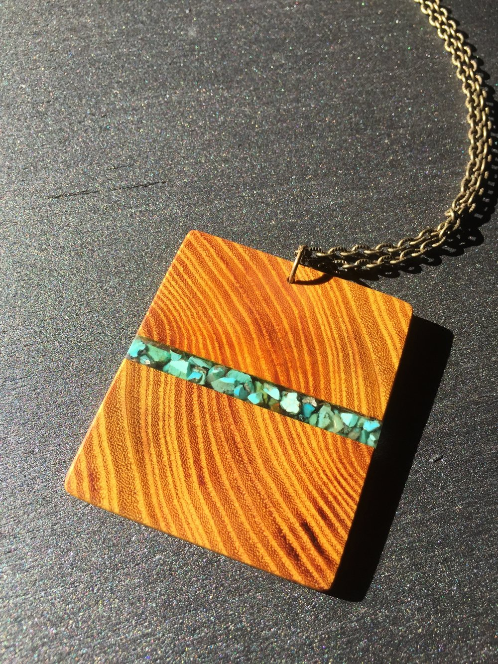 OSAGE ORANGE W/ CERRILLOS TURQUOISE